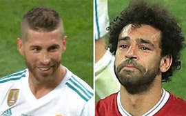 Hình ảnh Ramos cười hớn hở lúc Salah rời sân trong nước mắt gây phẫn nộ
