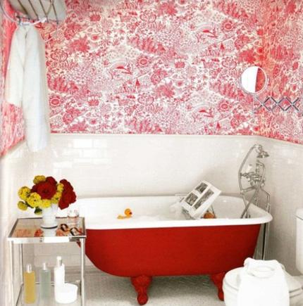 1e1f006cachbaitriphongtamantuo Chia sẻ 6 cách bài trí phòng tắm ấn tượng với gam màu đỏ