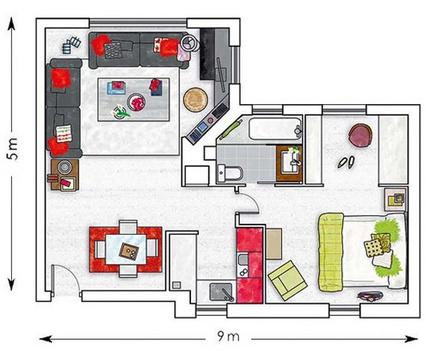 Hiện đại và tiện nghi căn hộ 45m² 1