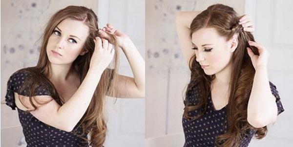 2 kiểu tóc vặn thừng duyên dáng khi mặc váy 2