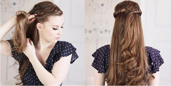 2 kiểu tóc vặn thừng duyên dáng khi mặc váy 3